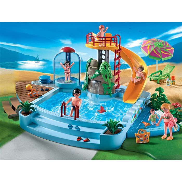 Playmobil 4858 piscine et toboggan achat vente univers for Piscine de playmobil