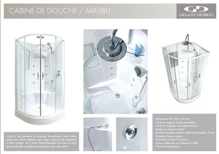 gelco cabine de douche malibu hydromassante 90x90 achat vente cabine de douche cabine. Black Bedroom Furniture Sets. Home Design Ideas