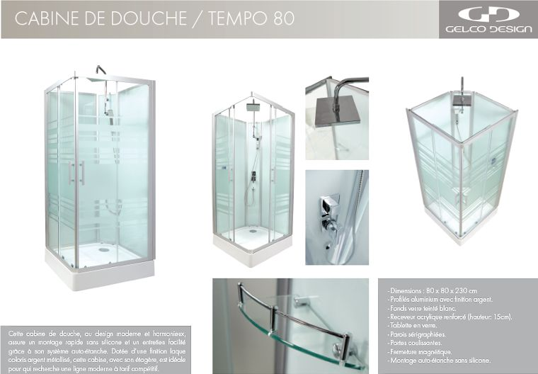 gelco cabine de douche tempo 80 int grale achat vente cabine de douche cabine de douche. Black Bedroom Furniture Sets. Home Design Ideas