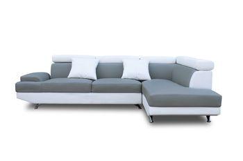 maison canape canapes scoop d angle droit pu blanc et gris f  lfblgripuad