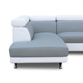 maison canape canapes scoop d angle gauche pu blanc et gris f  lfblgripuag