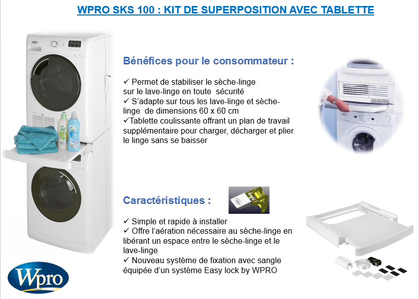 Wpro sks100 kit de superposition avec tablette achat - Superposition lave linge seche linge ...