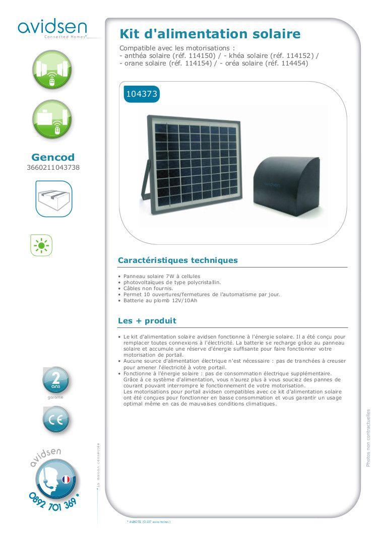 avidsen kit d 39 alimentation solaire 104373 pour motorisation de portail achat vente access. Black Bedroom Furniture Sets. Home Design Ideas