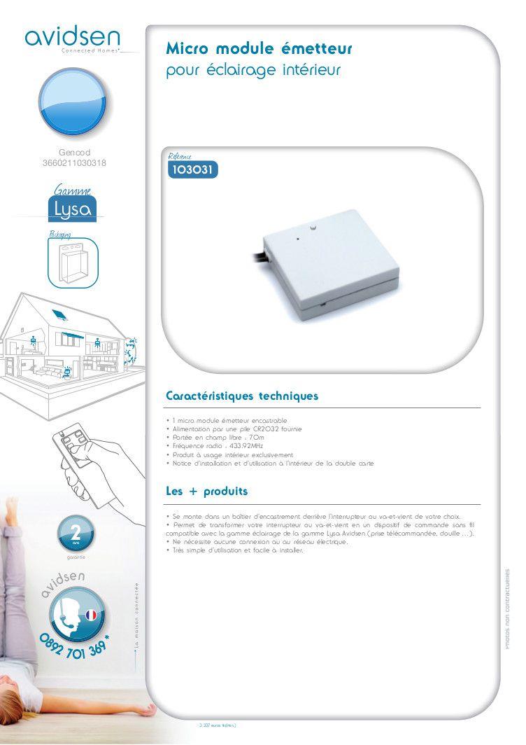 Avidsen micro module metteur clairage int rieur achat vente metteur actionneur cdiscount for Eclairage telecommande interieur
