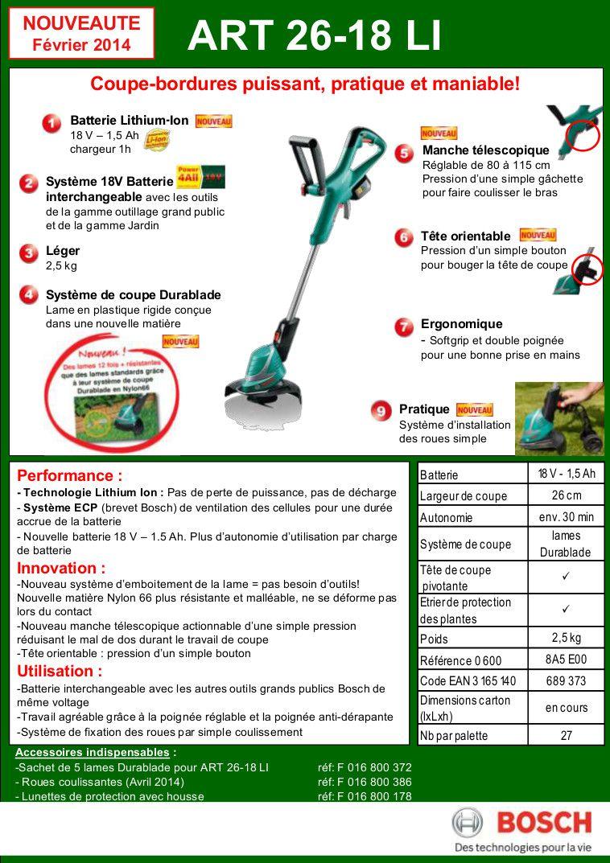 Bosch coupe bordures sans fil art 26 18 li achat vente - Batterie pour coupe bordure bosch ...