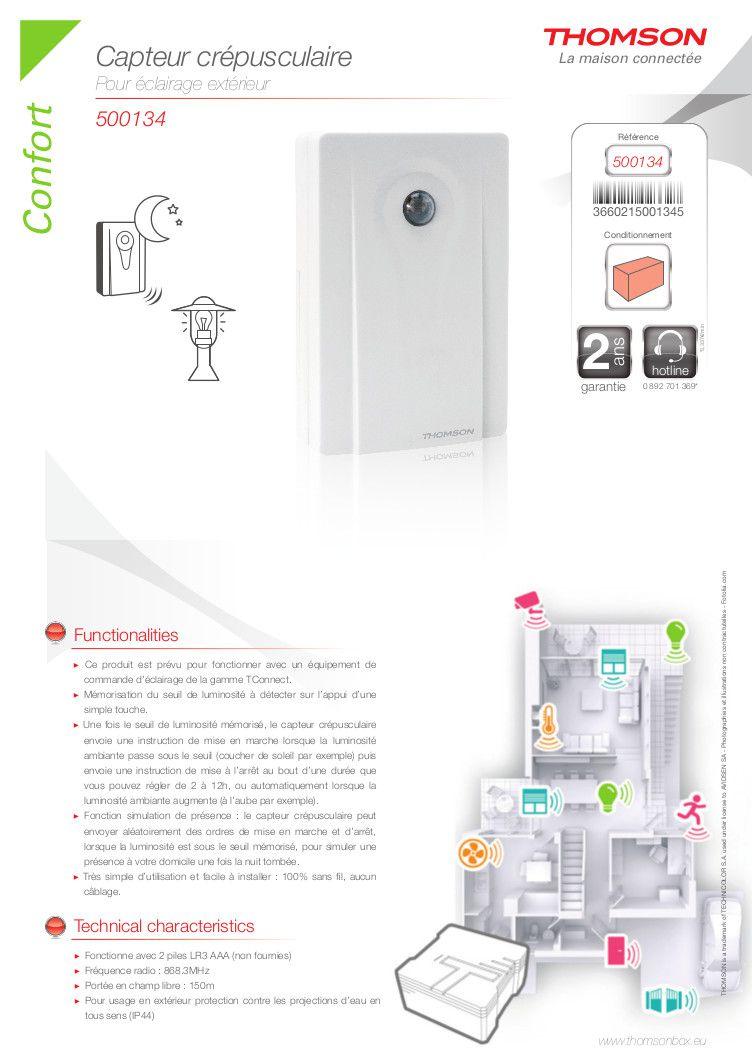 Thomson capteur cr pusculaire clairage ext rieur achat for Inter crepusculaire exterieur