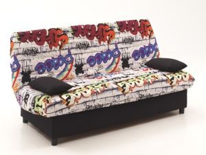 staro banquette clic clac 3 places 185x88x82 cm tissu graffiti achat vente clic clac. Black Bedroom Furniture Sets. Home Design Ideas