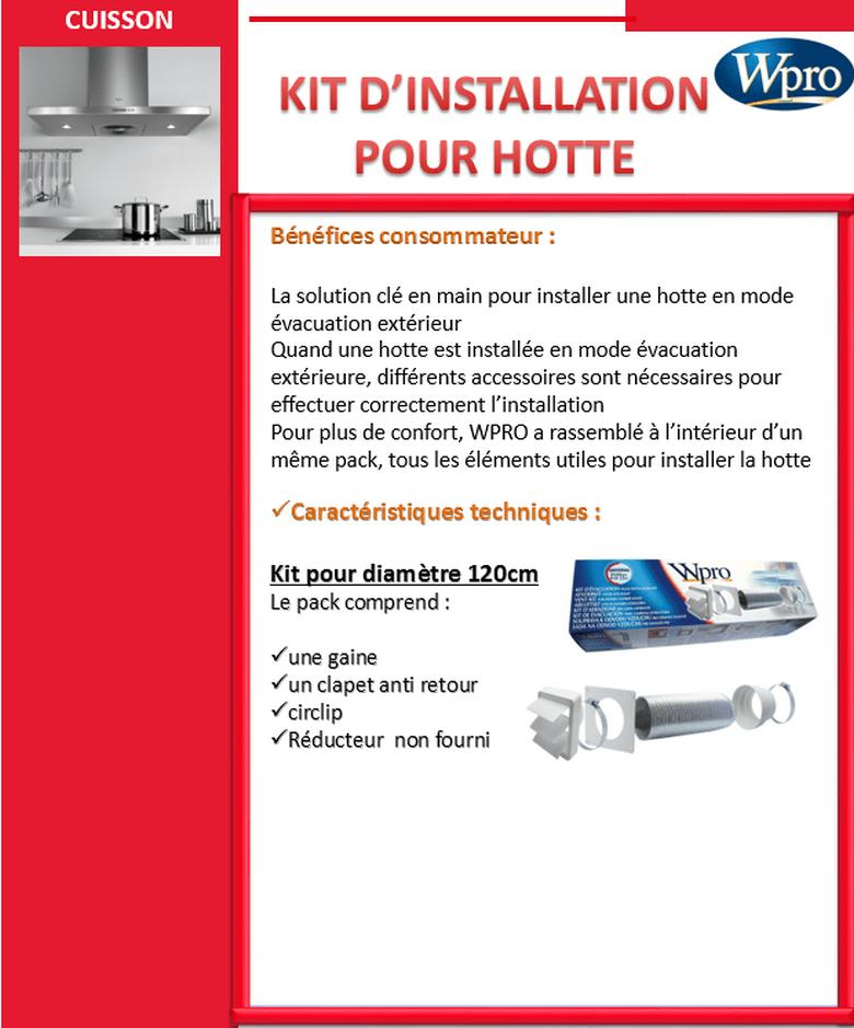 Wpro uvk120 kit vacuation pour hottes achat vente for Gaine pour hotte de cuisine