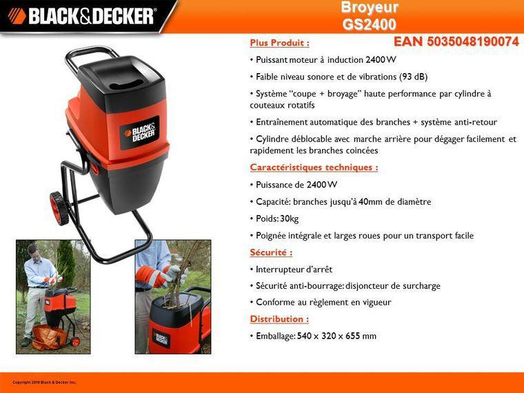 black&decker broyeur de végétaux électrique 2400 w gs2400 - achat