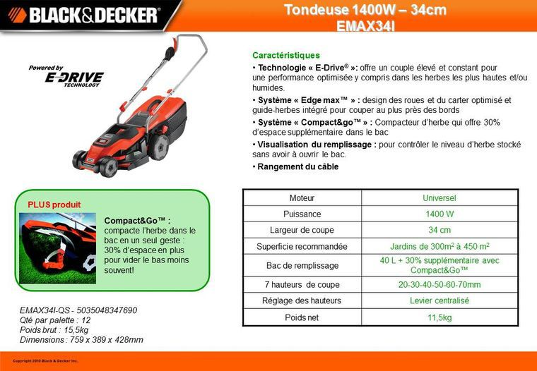 black decker tondeuse gazon lectrique emax34i achat vente tondeuse cdiscount. Black Bedroom Furniture Sets. Home Design Ideas