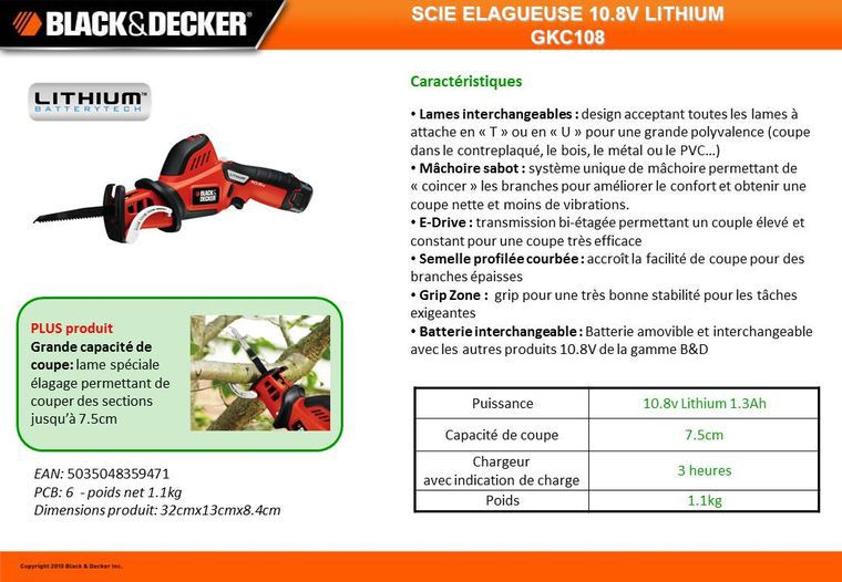 black decker scie lagueuse sans fil 10 8v lithium achat vente scie lame de scie cdiscount. Black Bedroom Furniture Sets. Home Design Ideas