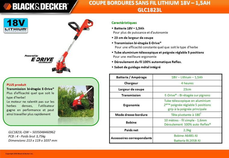 Black decker coupe bordures sans fil 18v 1 5ah achat - Coupe bordure a batterie black et decker ...