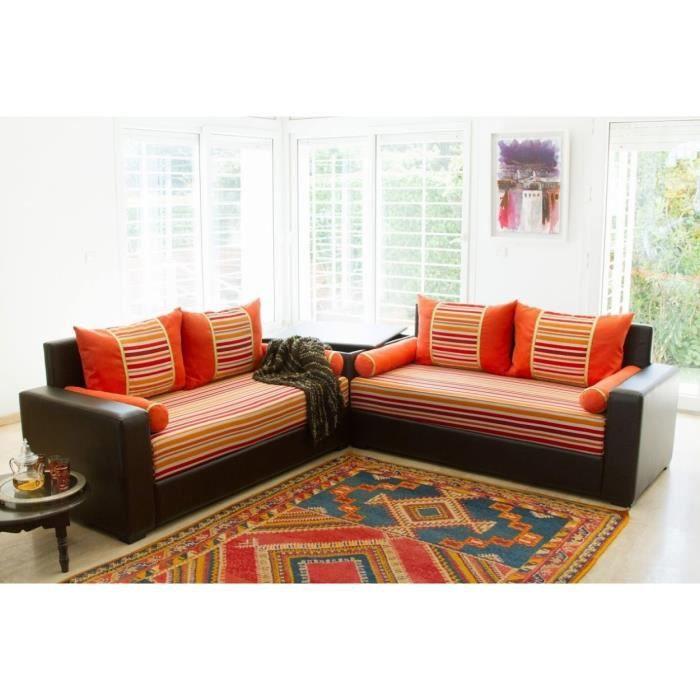 mamounia ensemble 2 canap s droits en simili et tissu 3 places table de coin 186x80x78 cm. Black Bedroom Furniture Sets. Home Design Ideas