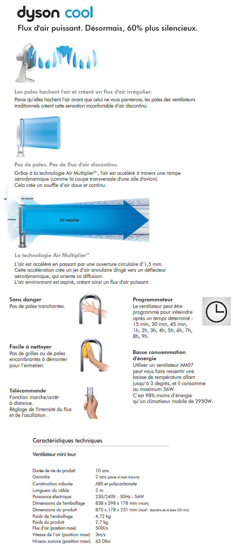 dyson am07 blue ventilateur mini tower achat vente ventilateur cdiscount. Black Bedroom Furniture Sets. Home Design Ideas