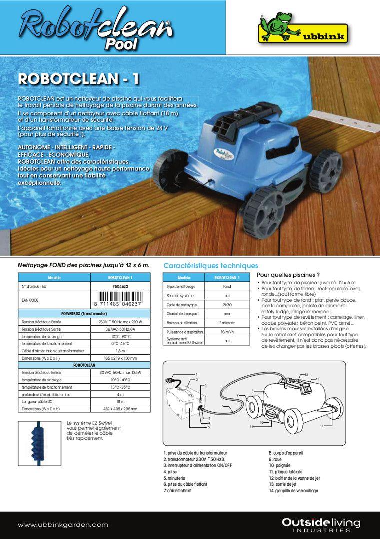 ubbink robot piscines robotclean 1 pour fond achat. Black Bedroom Furniture Sets. Home Design Ideas