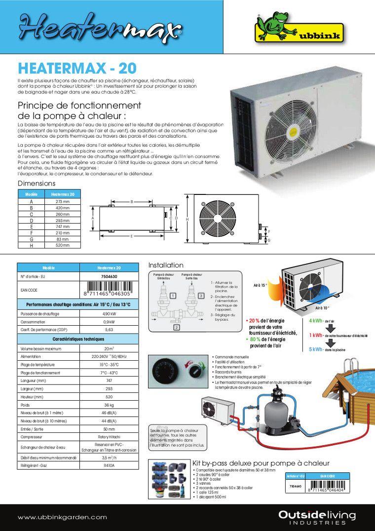 Pompe à Chaleur HT20 - 5,0KW Piscine Jusquu0027à 20m3
