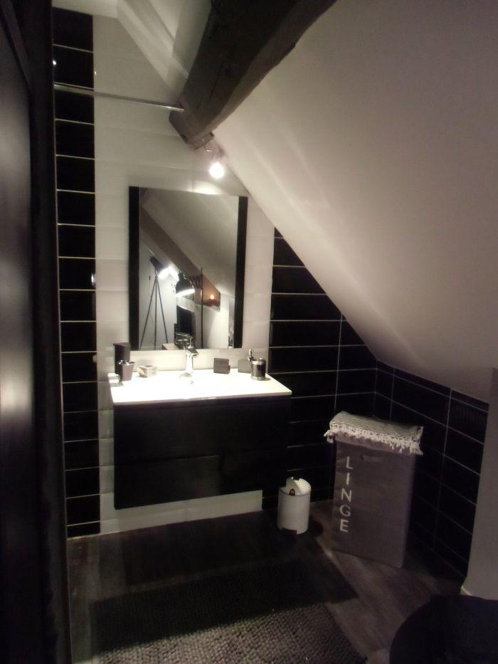 oslo salle de bain compl te simple vasque 80 cm noir brillant achat vente salle de bain. Black Bedroom Furniture Sets. Home Design Ideas