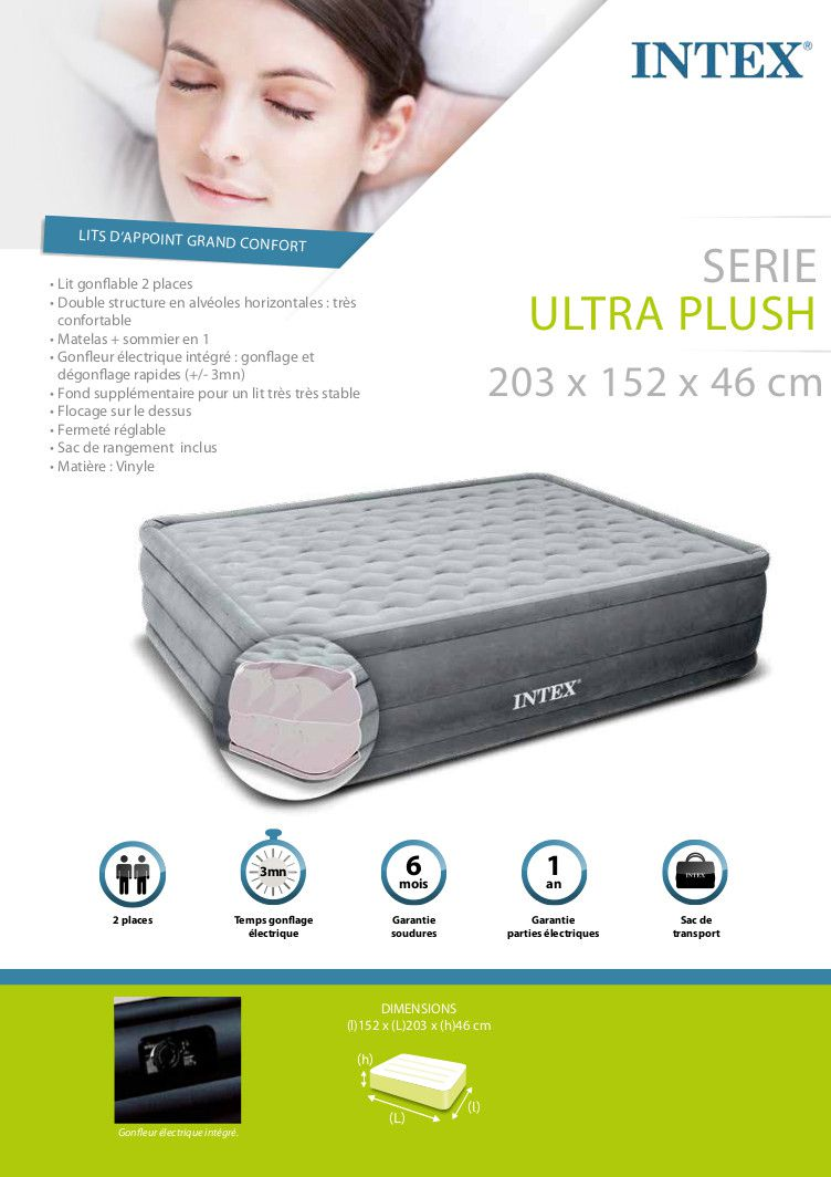 intex lit gonflable 2 places ultra plush achat vente lit gonflable airbed soldes cdiscount. Black Bedroom Furniture Sets. Home Design Ideas