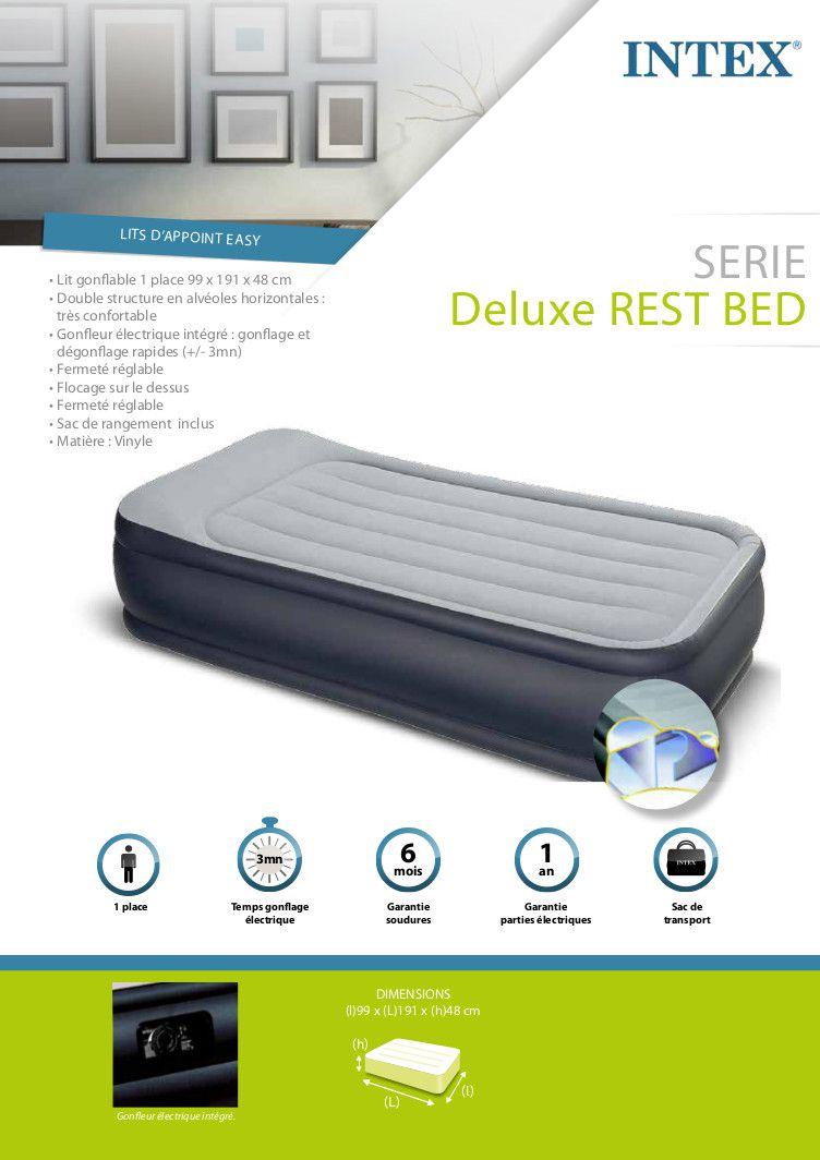 intex matelas gonflable deluxe rest bed 99x191 cm fermet r glable 1 personne achat. Black Bedroom Furniture Sets. Home Design Ideas