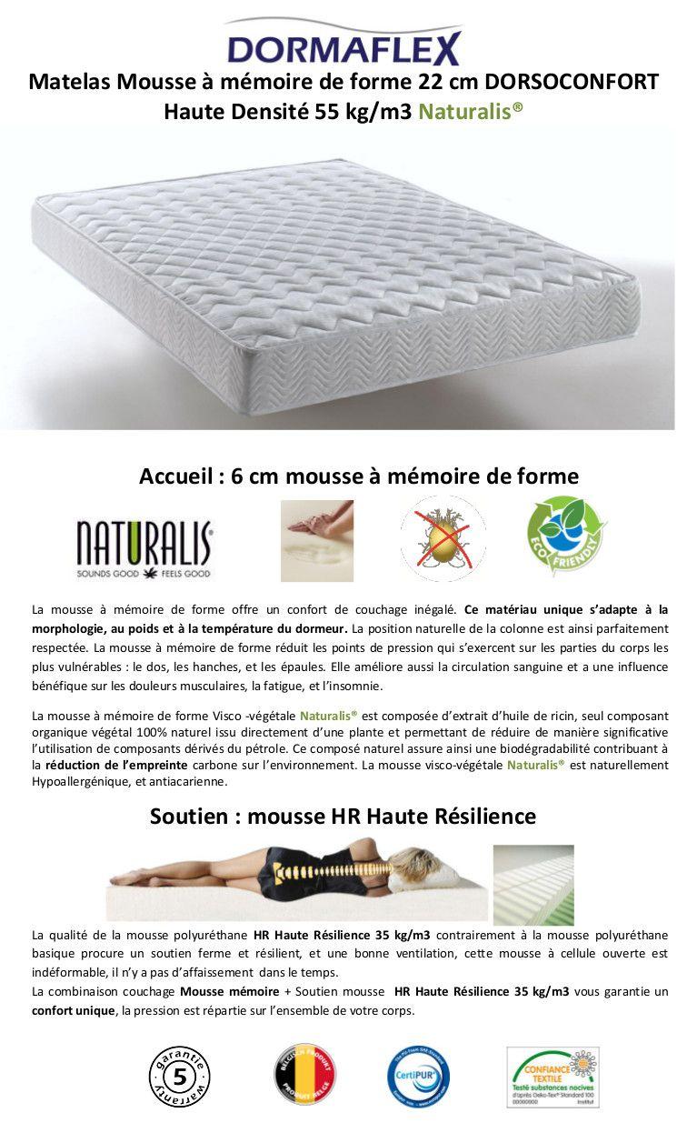dorsoconfort matelas 160x200 cm m moire de forme ferme 35kg m3 2 pers. Black Bedroom Furniture Sets. Home Design Ideas