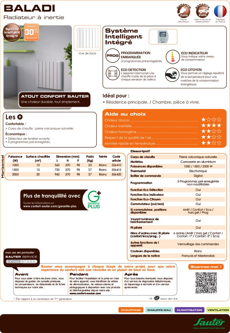 sauter baladi radiateur inertie st atite 1500 w achat vente radiateur panneau rad. Black Bedroom Furniture Sets. Home Design Ideas