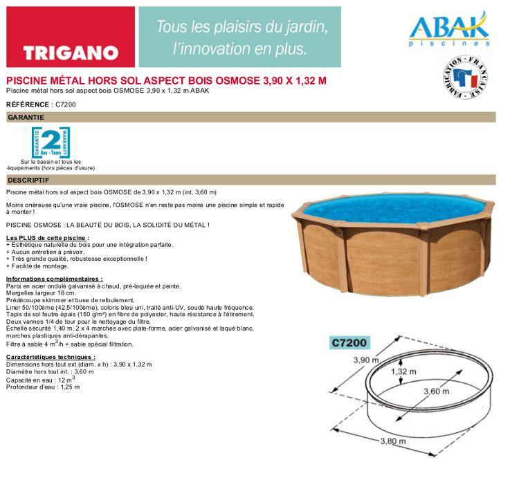 Piscine osmose 3 90x1 32m achat vente kit piscine - Piscine trigano osmose ...