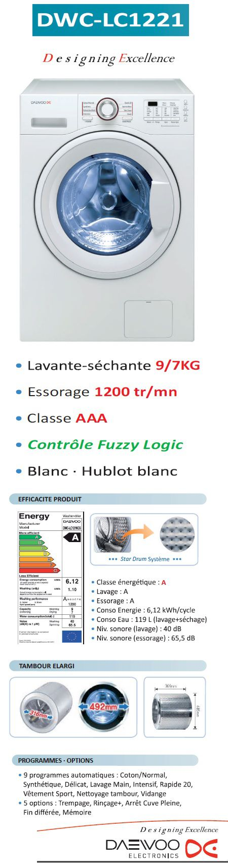 daewoo dwc lc1221 lavante s chante achat vente lave. Black Bedroom Furniture Sets. Home Design Ideas