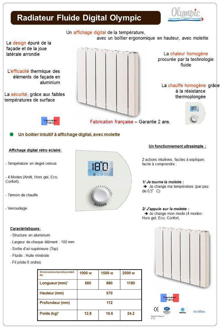 olympic 2000w radiateur lectrique inertie fluide digital achat vente radiateur panneau. Black Bedroom Furniture Sets. Home Design Ideas