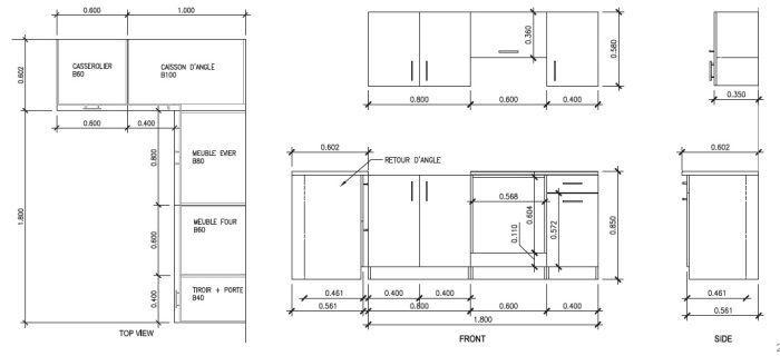 dimension meuble de cuisine but ~ image sur le design maison - Dimensions Meubles Cuisine