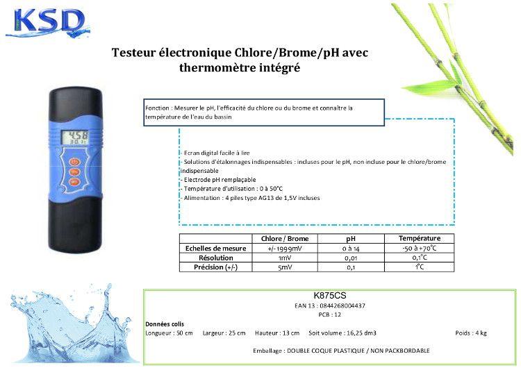 Testeur lectronique ChloreBromePh Thermomtre  Achat  Vente