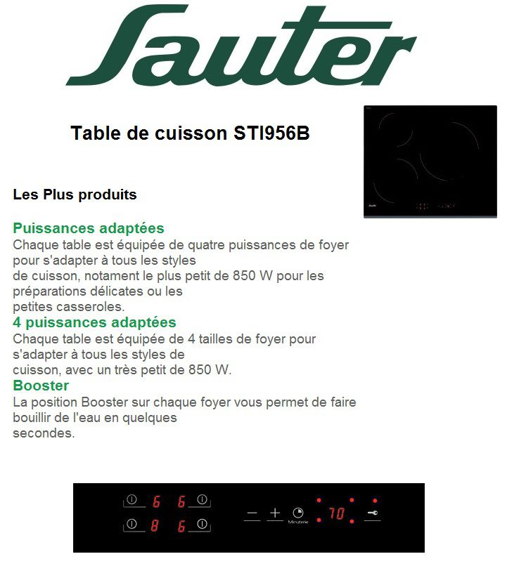 Sauter sti956b table induction achat vente plaque - Table induction sauter sti864b ...