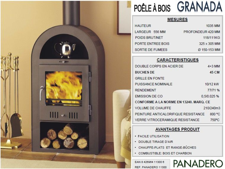panadero po le bois granada 10 12kw achat vente po le insert foyer po le bois. Black Bedroom Furniture Sets. Home Design Ideas