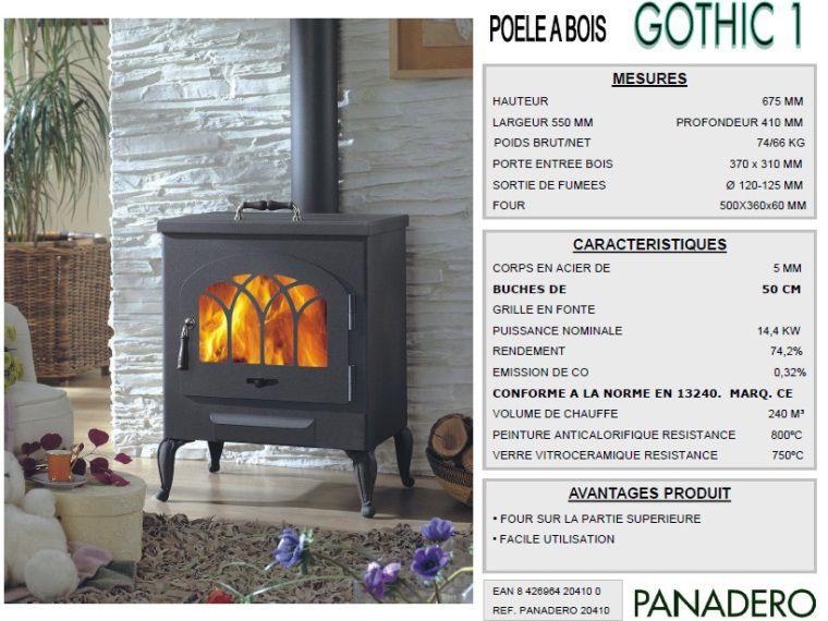 Panadero Poêle à bois GOTHIC1 15KW  Achat  Vente poêle