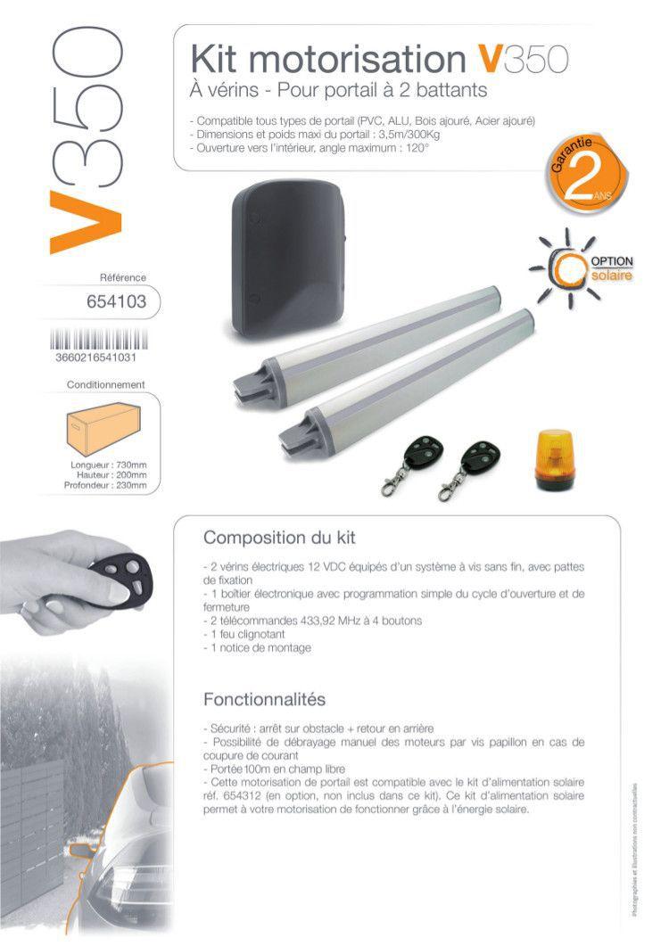 Avidsen motorisation portail v350 kit solaire achat for Portail electrique solaire