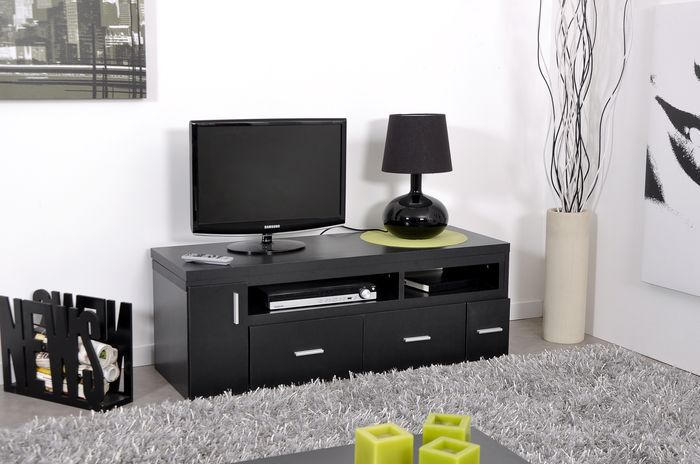meuble tv haut noir. Black Bedroom Furniture Sets. Home Design Ideas