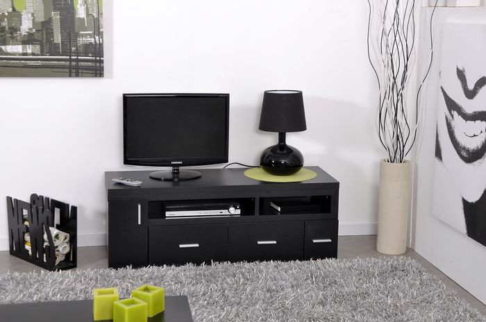 meuble tv blanc et noir pas cher. Black Bedroom Furniture Sets. Home Design Ideas