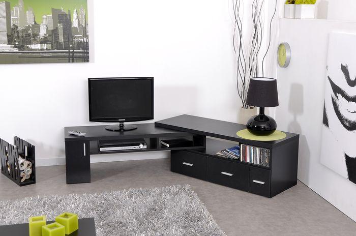 Slide meuble tv extensible noir achat vente meuble tv for Meuble tv angle design