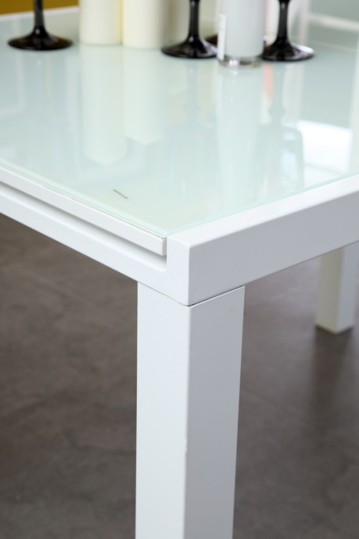 Table Extensible Verre Blanc