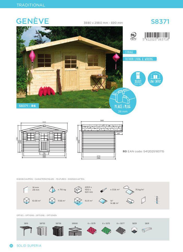 Abri de jardin GENEVE 388X298cm 10m² utiles - Achat / Vente abri ...