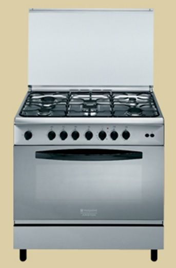 code promo 04947 b44c7 HOTPOINT C09SG1(X)/HAS - Piano de cuisson table gaz-6 foyers-Four  gaz-119L-B-L90xH85cm-Inox