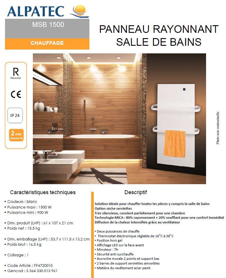 Seche serviette panneau rayonnant superb seche serviette for Miroir chauffant castorama