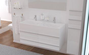Loft salle de bain compl te double vasque 120cm blanc brillant achat ve - Prix d une salle de bain complete ...