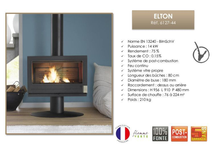 invicta po le bois 100f fonte elton 14kw achat vente. Black Bedroom Furniture Sets. Home Design Ideas