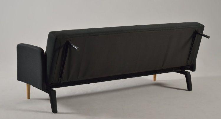 copenhague banquette clic clac convertible 3 places 190x84 x78 cm tissu microfibre noir. Black Bedroom Furniture Sets. Home Design Ideas