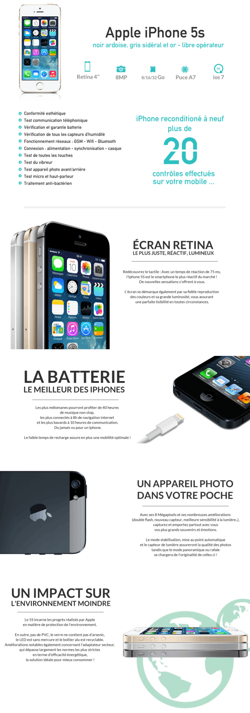 iphone 5s 32 go gris reconditionn remade in france. Black Bedroom Furniture Sets. Home Design Ideas