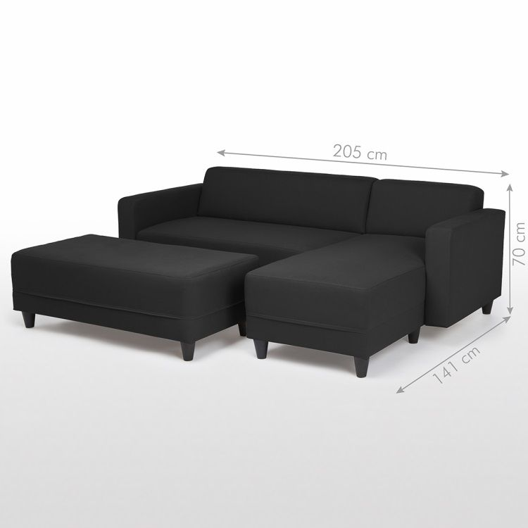 finlandek canap kulma convertible lit 4 places banc 2 places angle r versible noir achat. Black Bedroom Furniture Sets. Home Design Ideas
