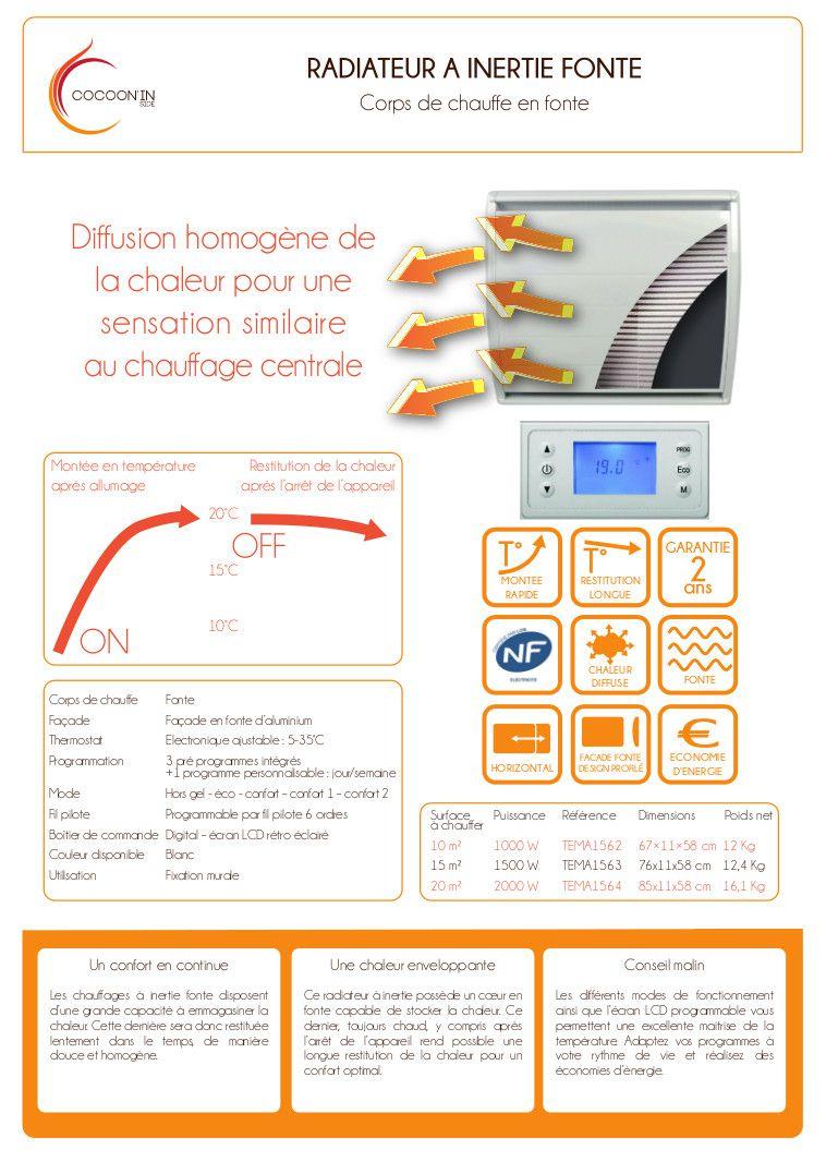 cocoon 39 radiateur lectrique inertie fonte 1500 w lcd achat vente radiateur panneau. Black Bedroom Furniture Sets. Home Design Ideas