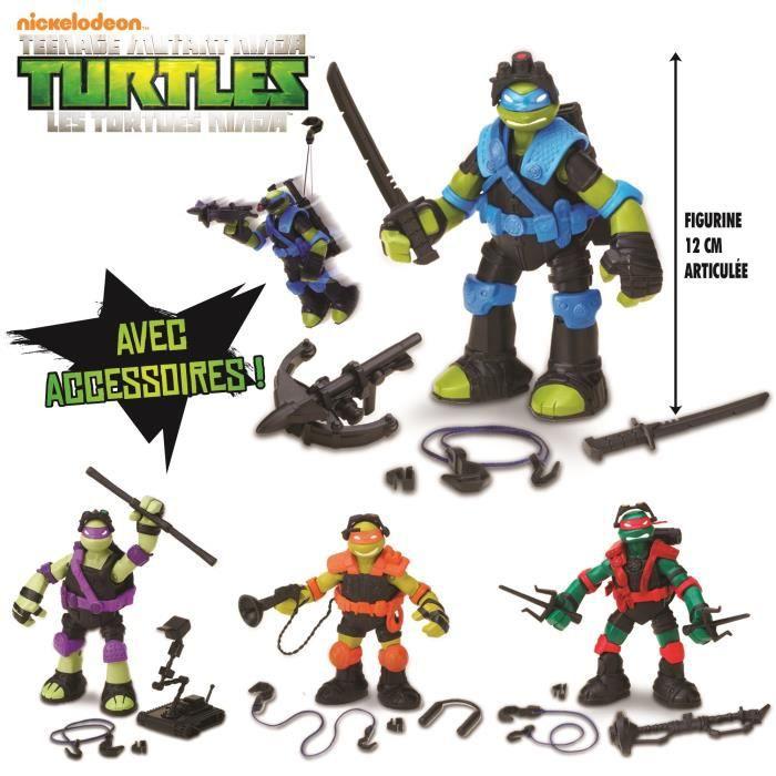 Collectionne les quatre figurines Tyrolienne Tortues Ninja  Raphael,  Michelangelo, Leonardo et Donatello.