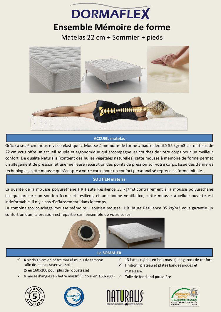 dormaflex dorsocontact ensemble matelas sommier 160x200cm mousse m moire de forme 55kg m. Black Bedroom Furniture Sets. Home Design Ideas