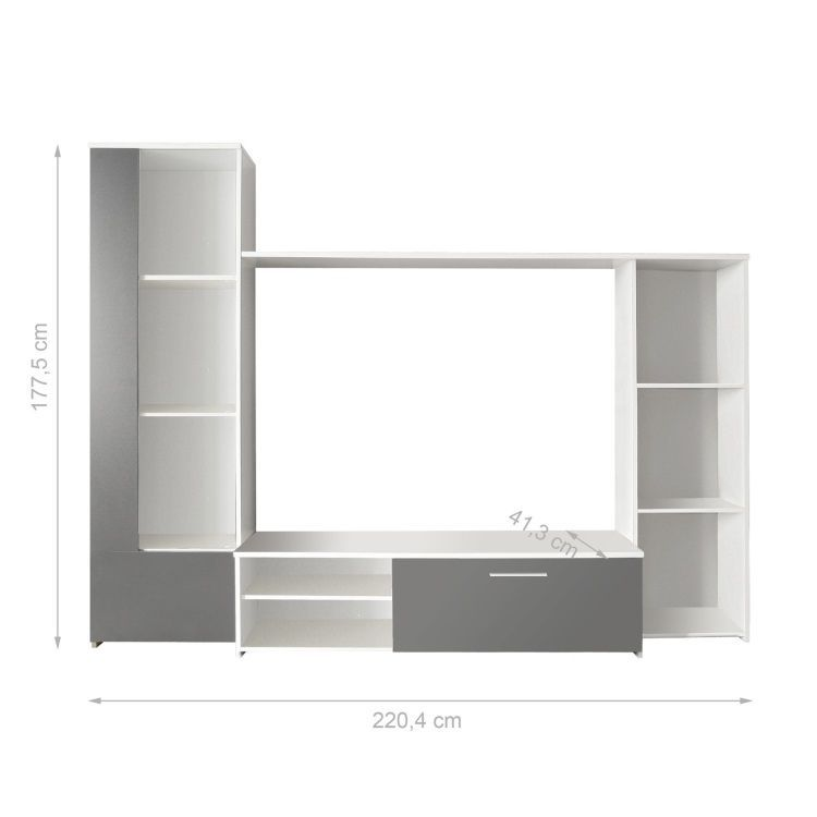 Finlandek meuble tv mural cloud 220 cm blanc gris achat for Meuble tv gris 110 cm